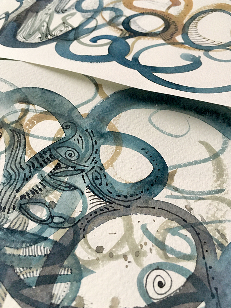 watercolor doodles in neutral tones